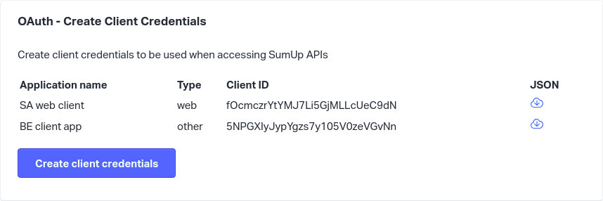 OAuth client credentials section
